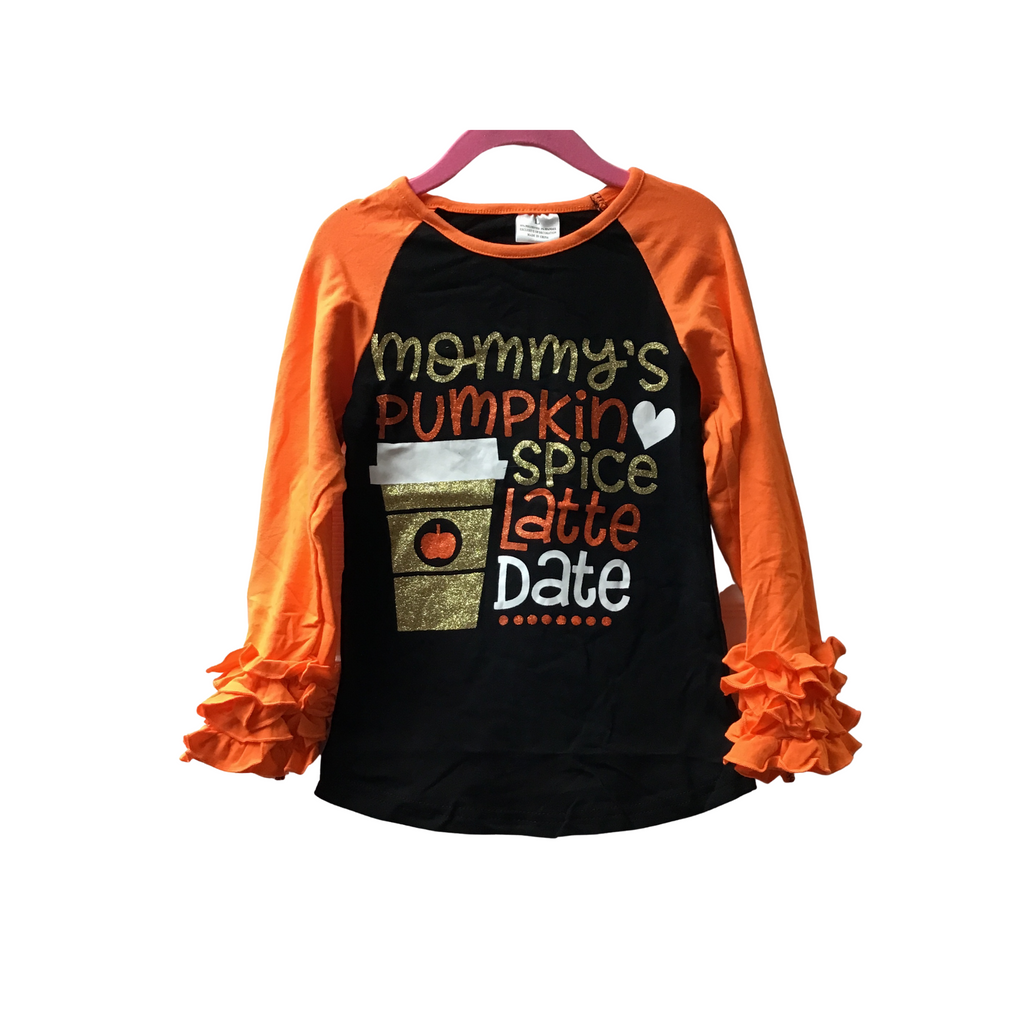 Kids Mommy's Pumpkin Spice Long Sleeved Ruffle Cuff Shirt-Lola Monroe Boutique
