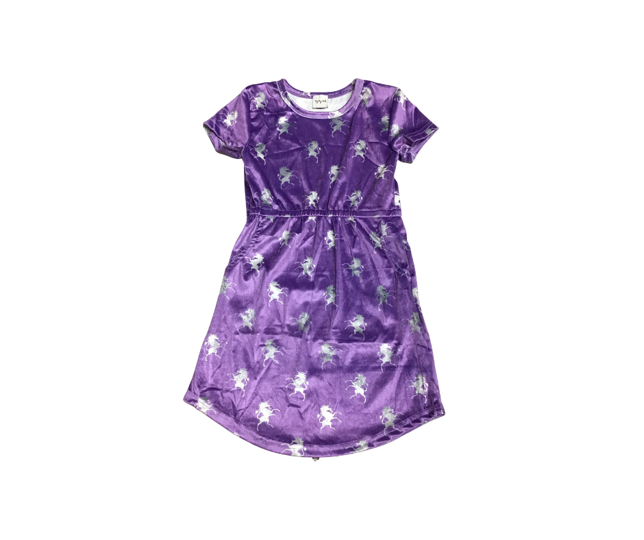 Velvet Peyton Tunic Dress with Pockets (Unicorns)-Lola Monroe Boutique