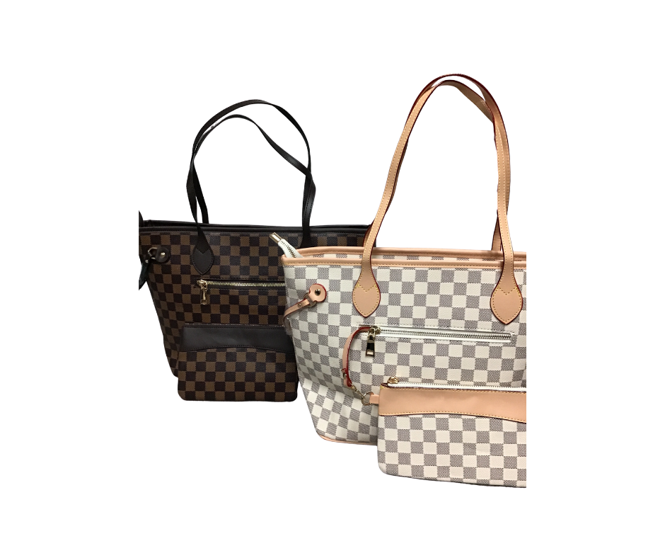 Checkered Tote with pouch(Cream, Brown, Black)-Lola Monroe Boutique