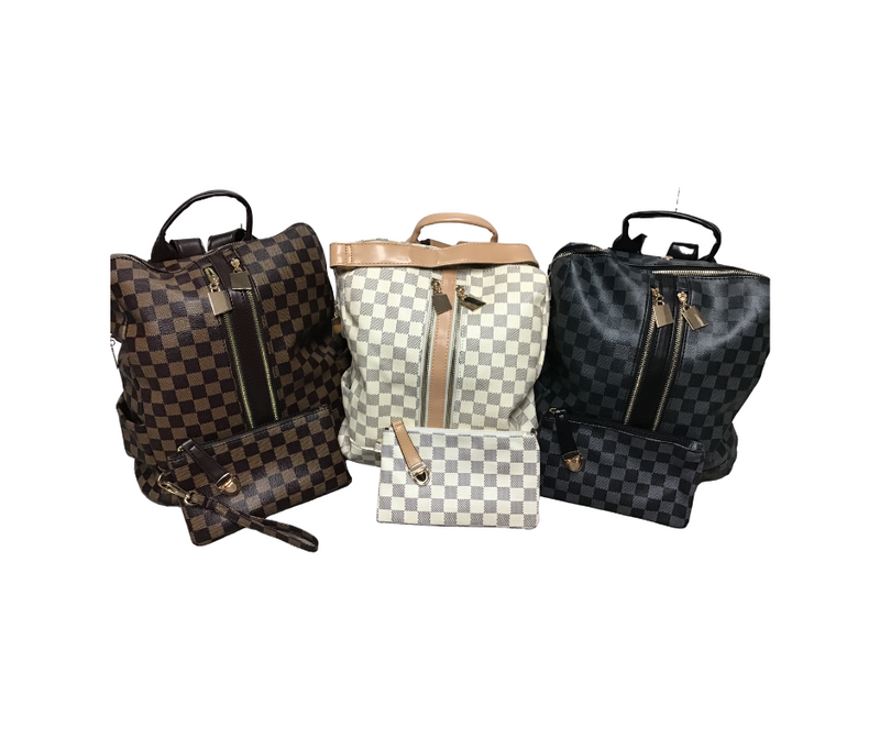 Checkered Backpack & Clutch-Lola Monroe Boutique