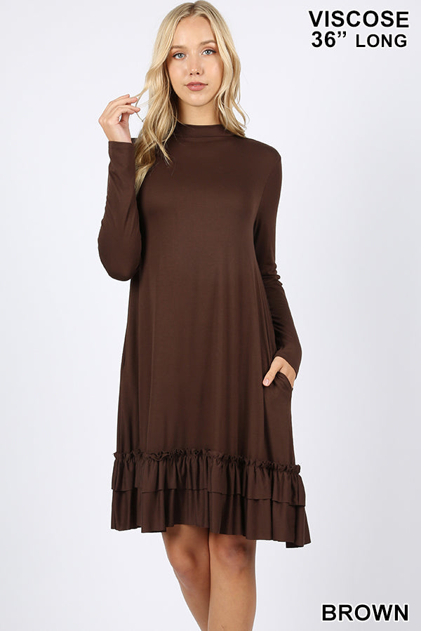 """Audrey"" Mock Neck Long Sleeve Ruffle Bottom Dress with Pockets (Brown)-Lola Monroe Boutique"