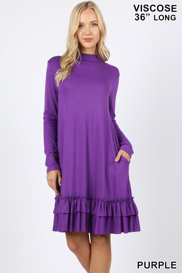 """Audrey"" Mock Neck Long Sleeve Ruffle Bottom Dress with Pockets (Purple)-Lola Monroe Boutique"