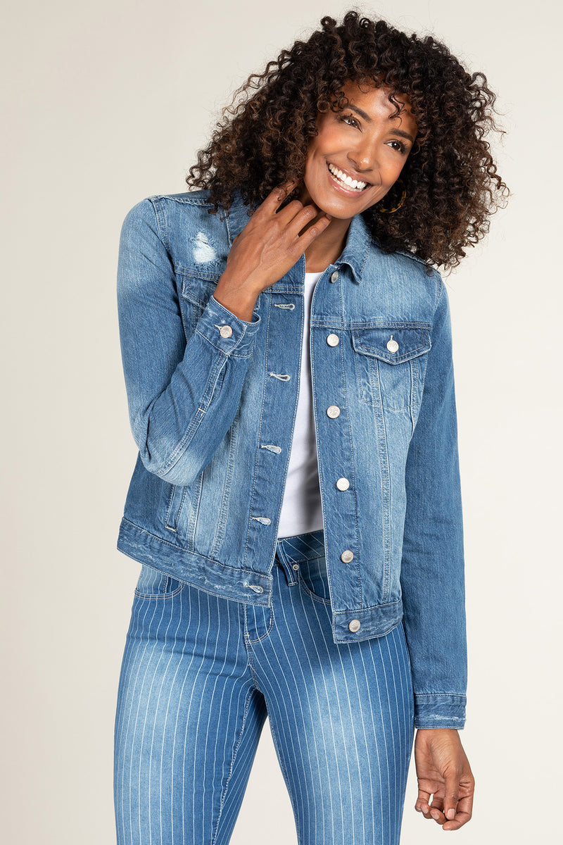 "YMI/Royalty ""Tatters"" Distressed Denim Jacket-Lola Monroe Boutique"