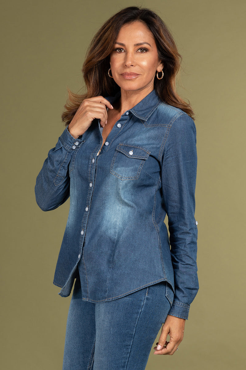 """Work It"" Chambray 3/4 Sleeve Top-Lola Monroe Boutique"