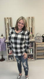 """Mad For Plaid"" (Black & White) Long Sleeve V-Neck"