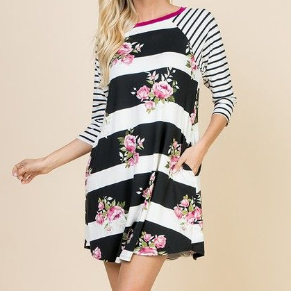 3/4 Sleeve Floral & Stripe Tunic Dress-Lola Monroe Boutique