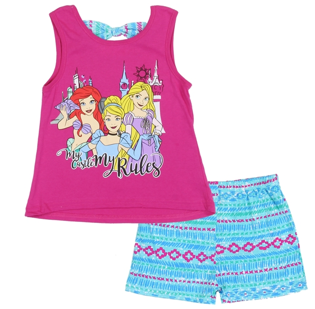 Disney Princess Kids Short Set (My Castle My Rule)-Lola Monroe Boutique