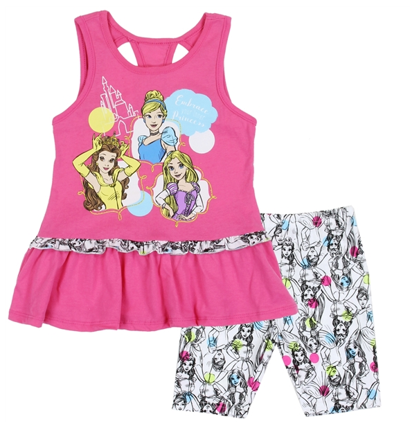 Disney Princess Kids Short Set (Belle, Cinderella, Rapunzel)-Lola Monroe Boutique