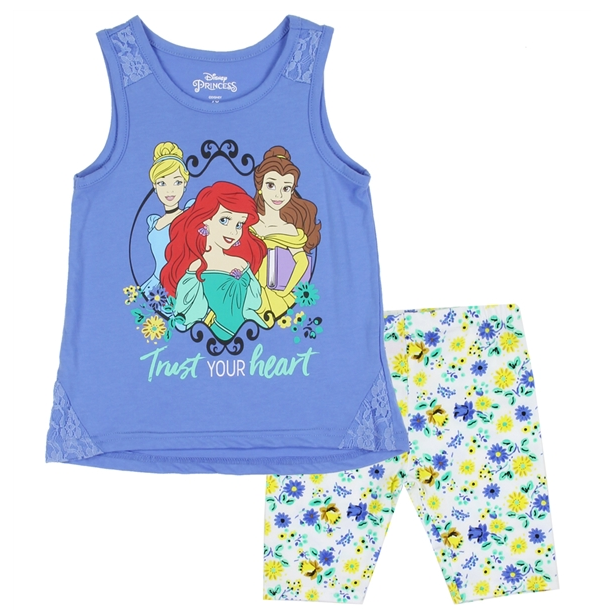 Disney Princess Kids Short Set (Cinderella, Belle, Ariel)-Lola Monroe Boutique
