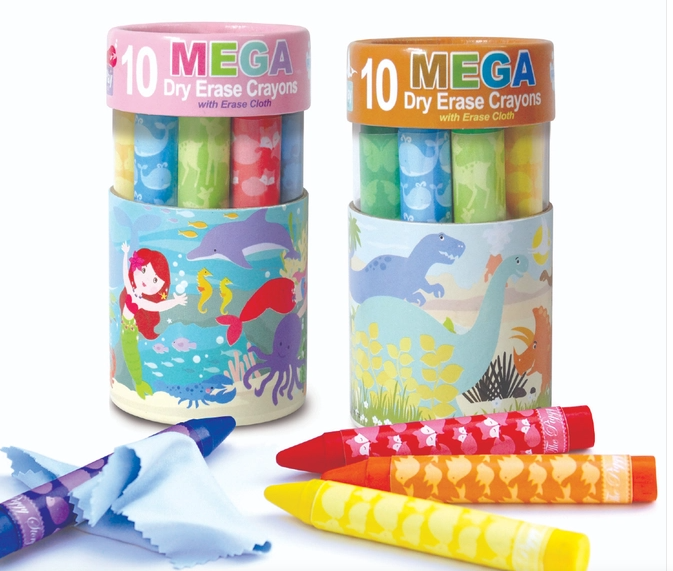 Dry Erase Mega Crayons with Erase Cloth (Multiple Options)-Lola Monroe Boutique