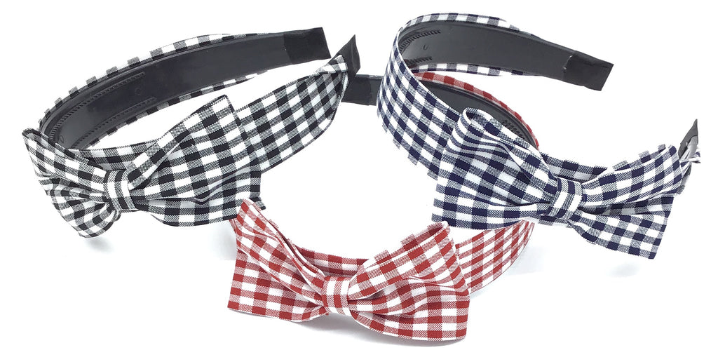 Gingham Print Headband with Bow Detail (Multiple Colors)-Lola Monroe Boutique