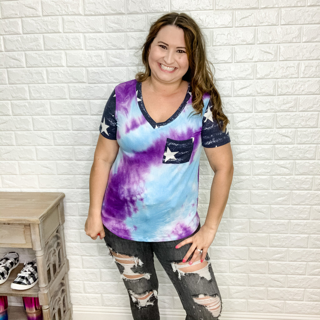 """Randi"" Tie Dye with Star Accent Top-Lola Monroe Boutique"