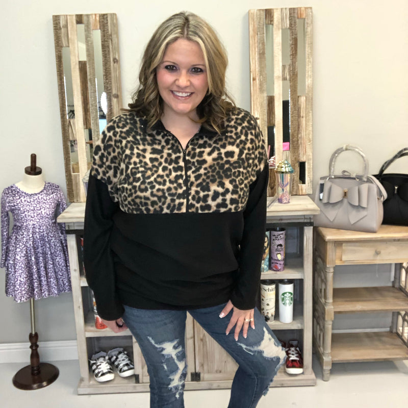 Animal Print Zip Collar Pull Over-Lola Monroe Boutique
