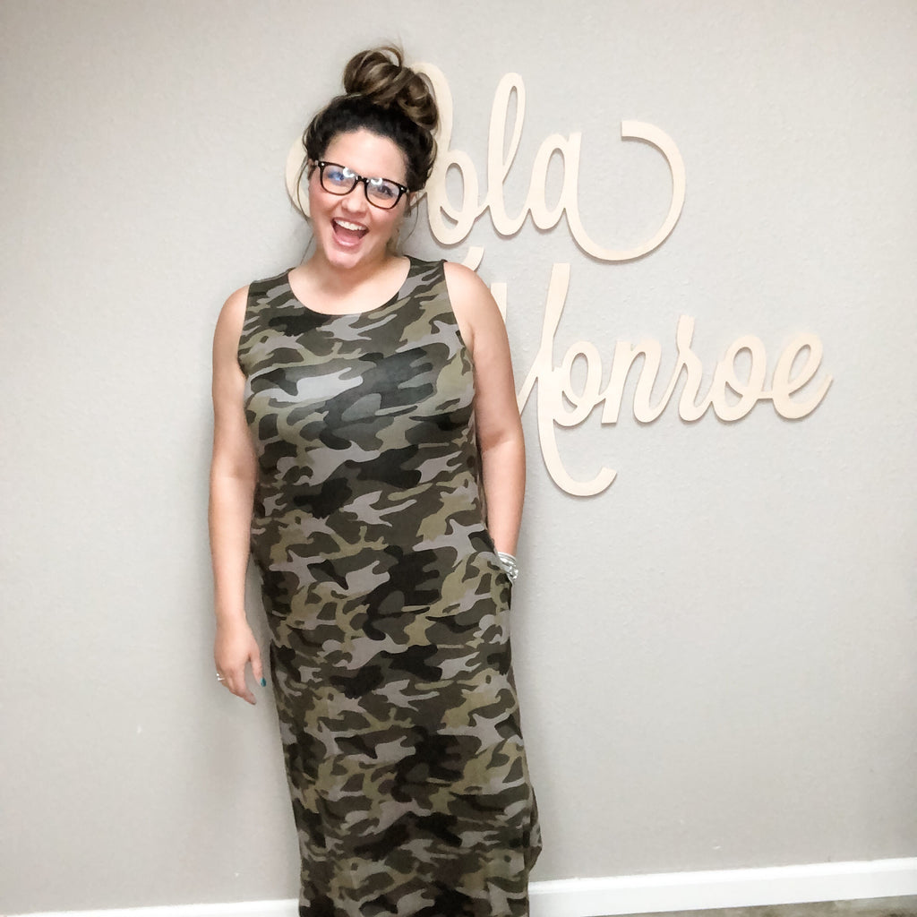 Camo Pocket Tank Maxi Dress-Lola Monroe Boutique