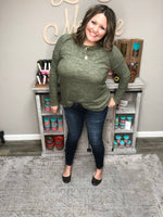 """Cozy Up"" Long Sleeve Tunic/Top (Olive)-Lola Monroe Boutique"