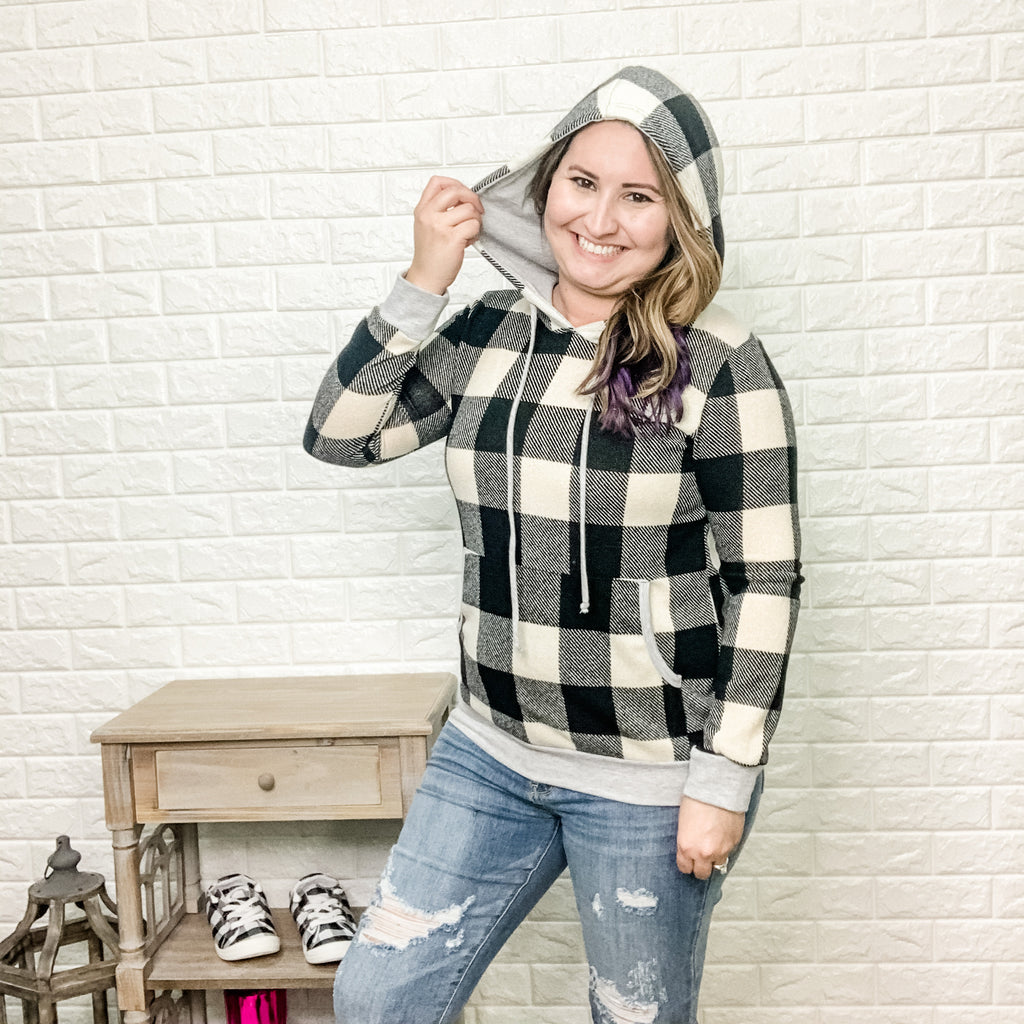 Black & Ivory Plaid Hoodie-Lola Monroe Boutique