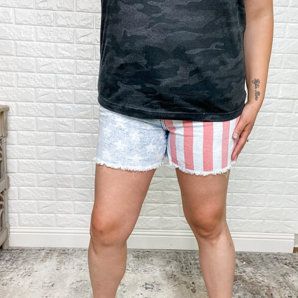 Judy Blue American Flag Shorts-Lola Monroe Boutique