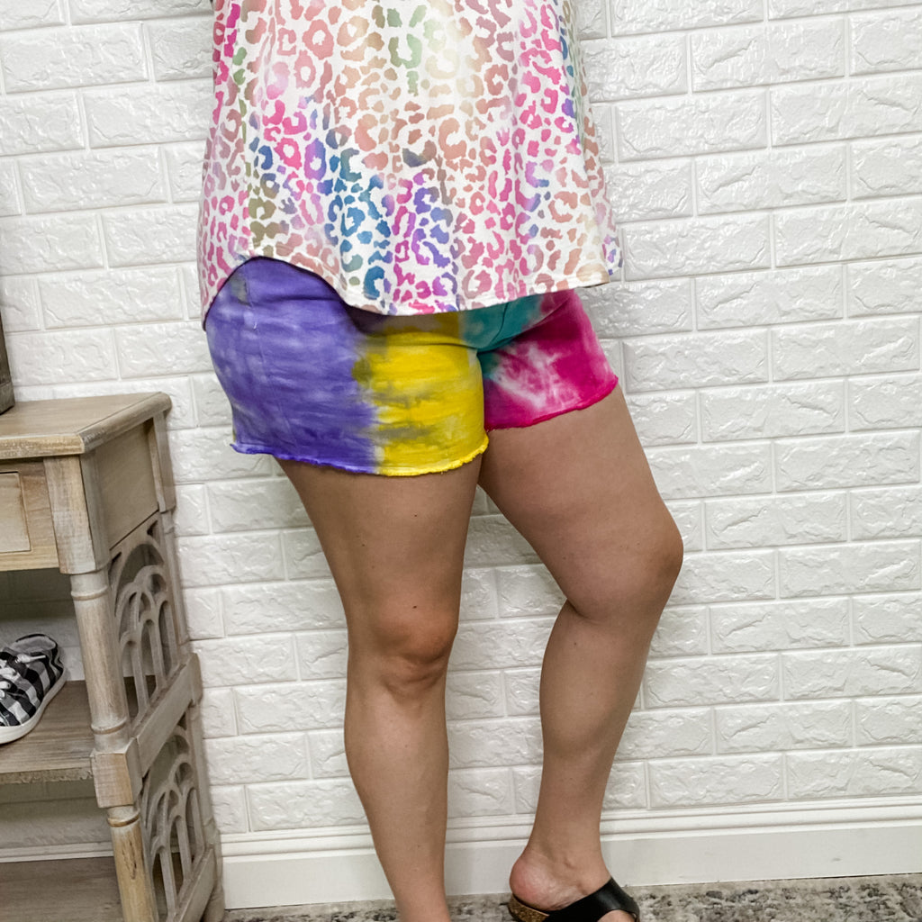 Judy Blue Mid-Rise Snow Cone Tie Dye Shorts-Lola Monroe Boutique