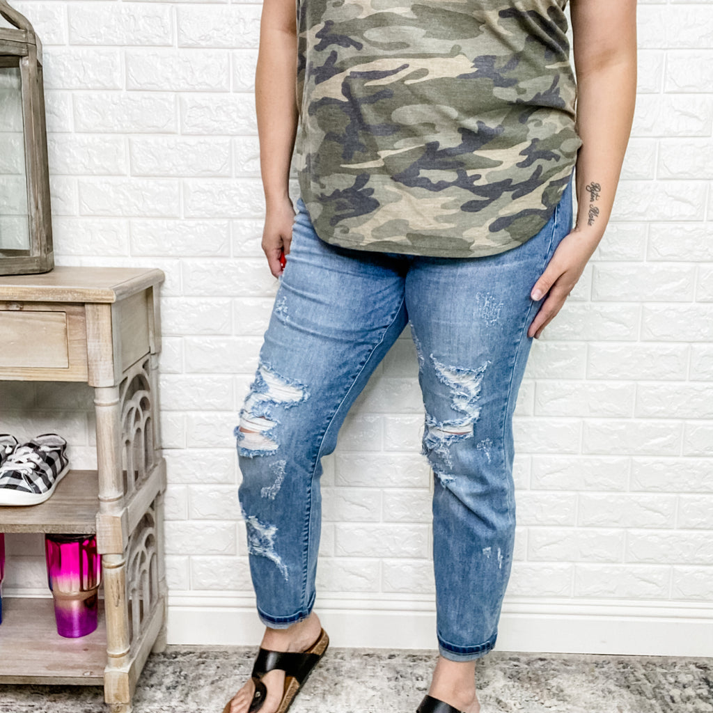 "Judy Blue ""Hot Mama"" Boyfriend Jeans-Lola Monroe Boutique"