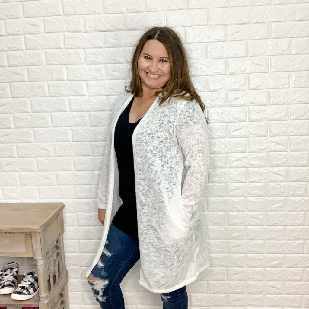 """Harlow"" Cardigan with Side Pockets (Off White)-Lola Monroe Boutique"