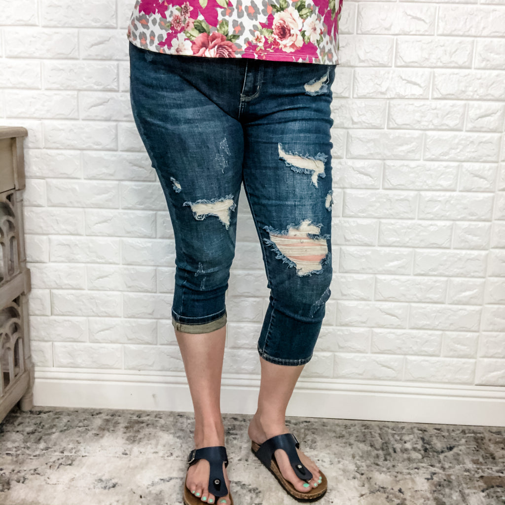 "Judy Blue ""Hey Shorty"" Mid Rise Distressed Capri-Lola Monroe Boutique"