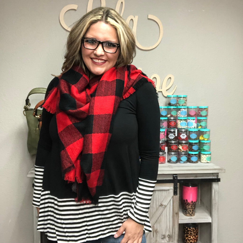 Oversized Buffalo Plaid Square Scarf-Lola Monroe Boutique