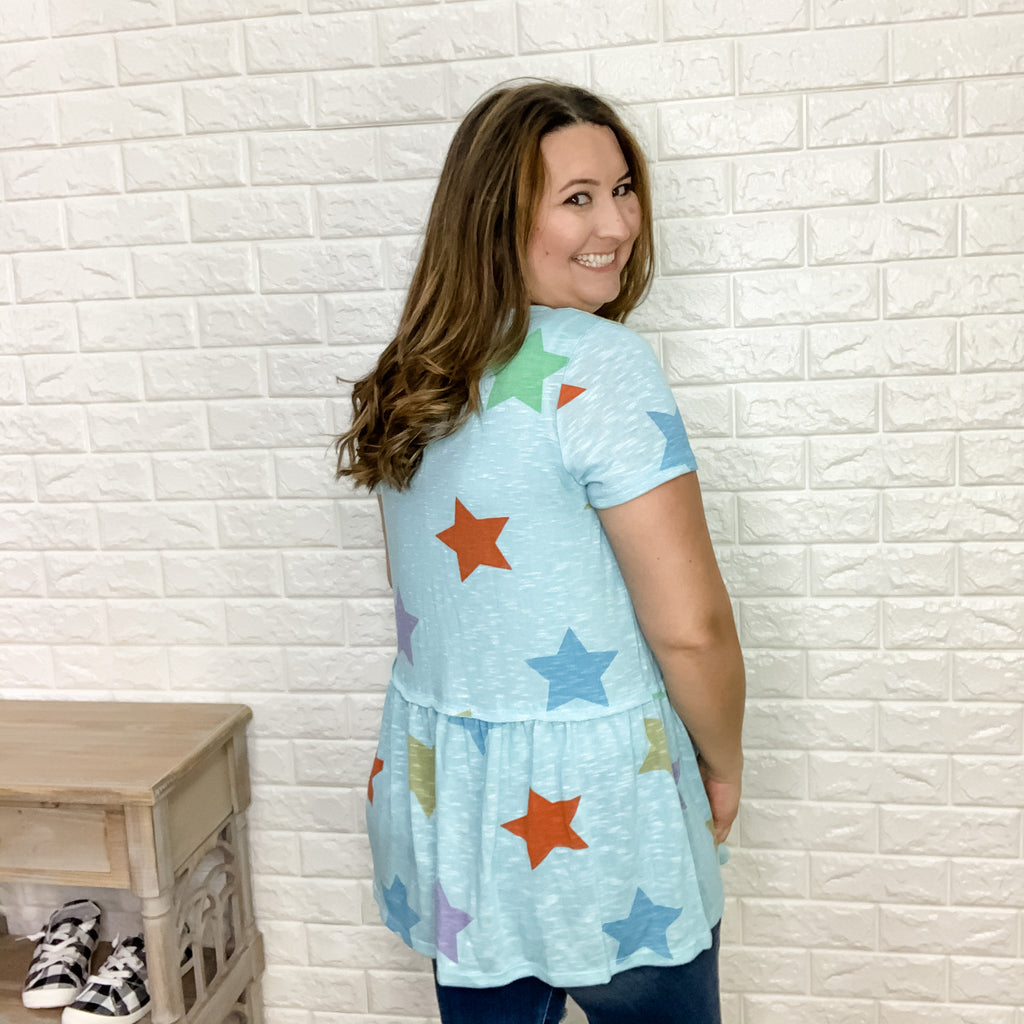 Honey Me Blue Star Baby Doll Tunic Top-Lola Monroe Boutique