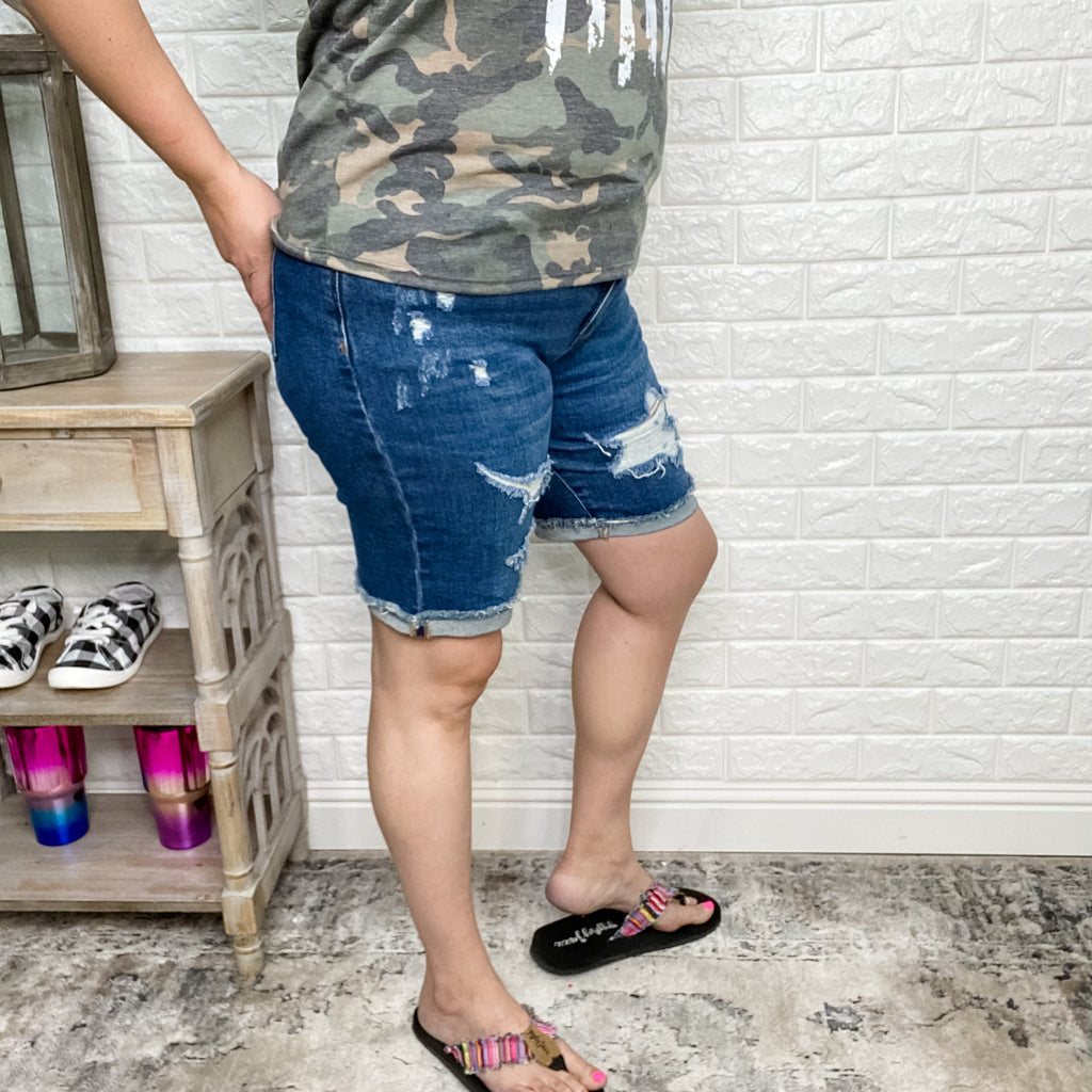 "Judy Blue ""Feeling Destroyed"" Bermuda Shorts-Lola Monroe Boutique"