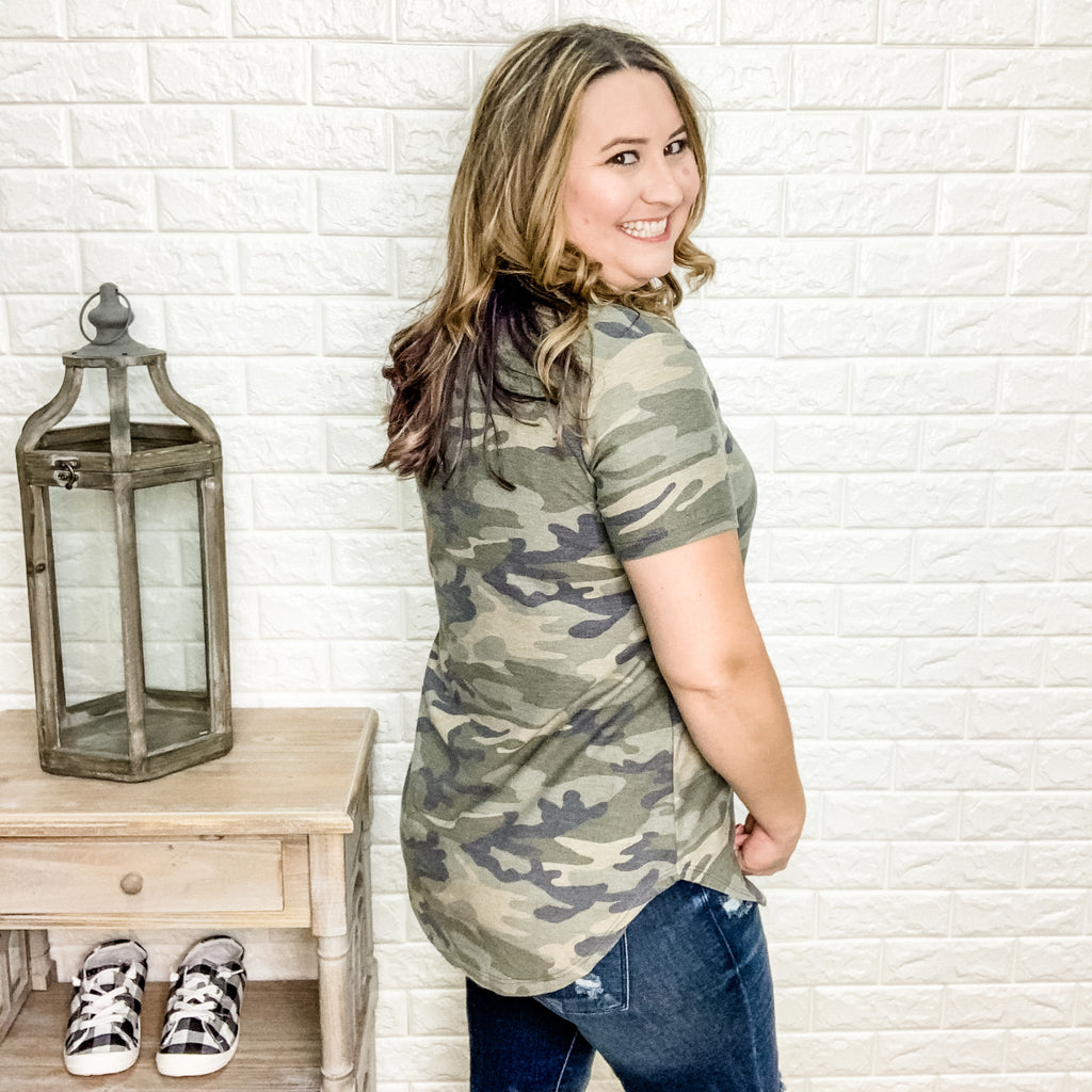 """Private Benjamin"" V-Neck Camo Tee-Lola Monroe Boutique"