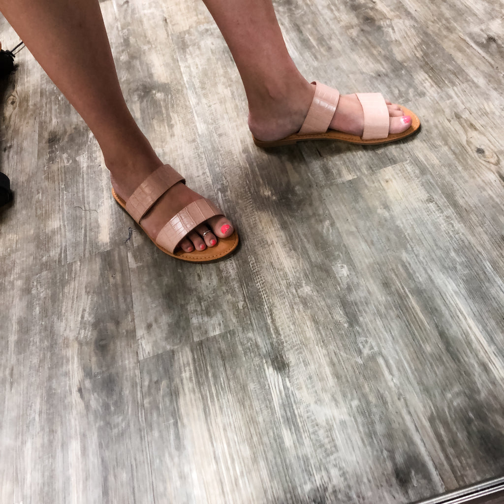 Slip on Double Band Blush Sandal-Lola Monroe Boutique