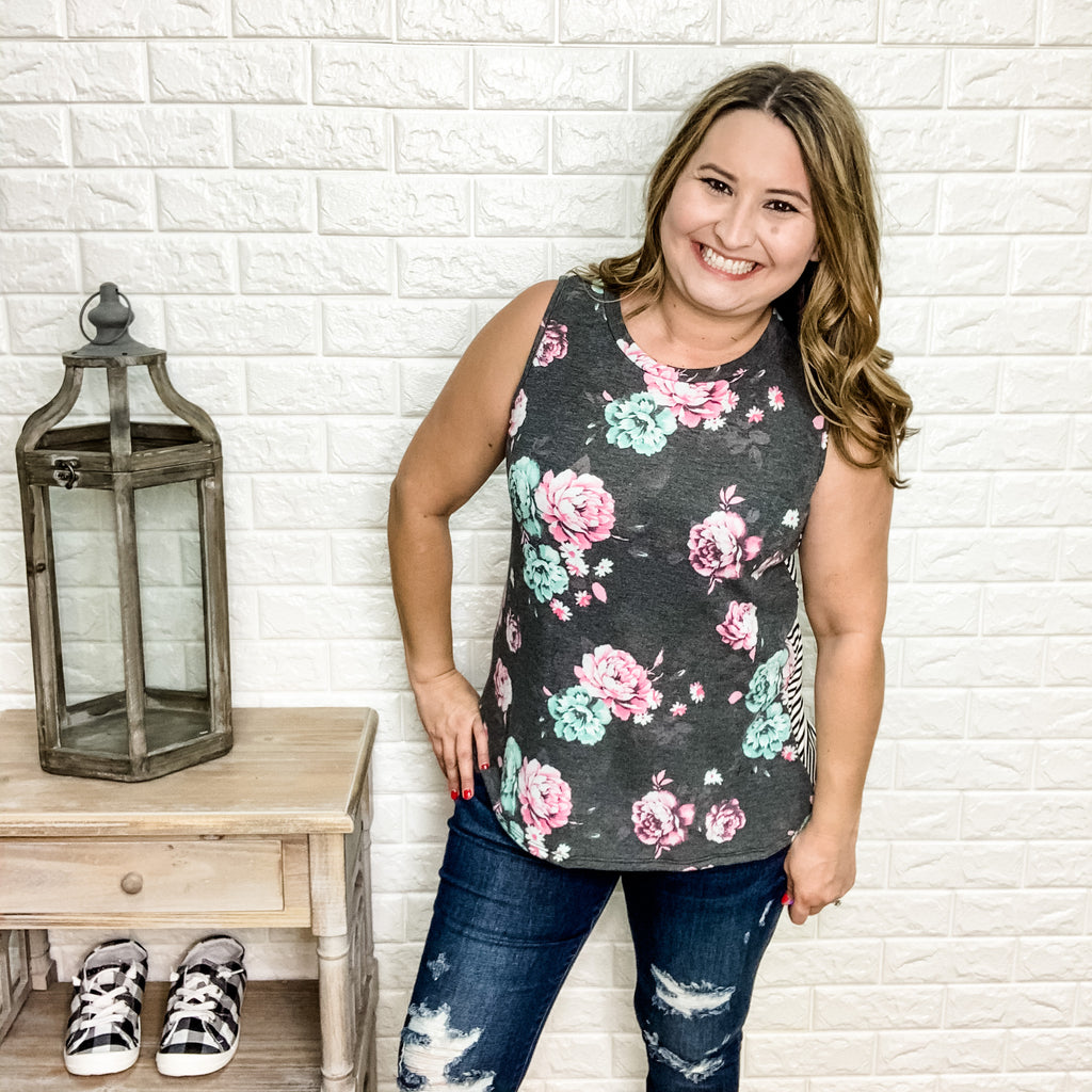 """Emily"" Floral & Stripe Tank with Button Detail-Lola Monroe Boutique"