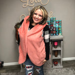 """Aspen"" Hooded Faux Fur Vest (Rose)-Lola Monroe Boutique"