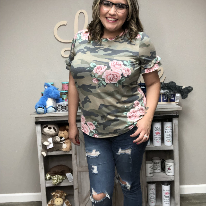 Camo Floral Top-Lola Monroe Boutique