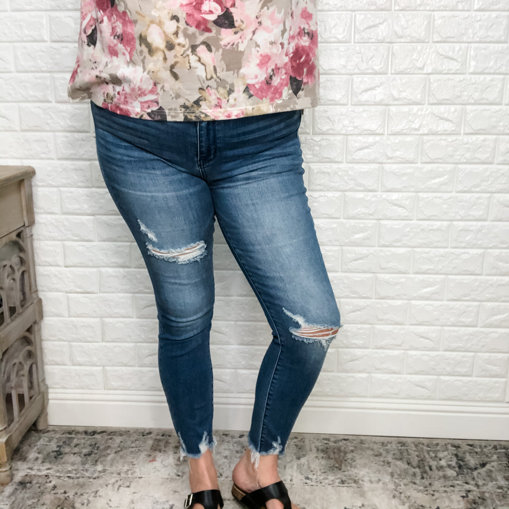 "Judy Blue ""Spring Fever"" High Rise Skinnies-Lola Monroe Boutique"