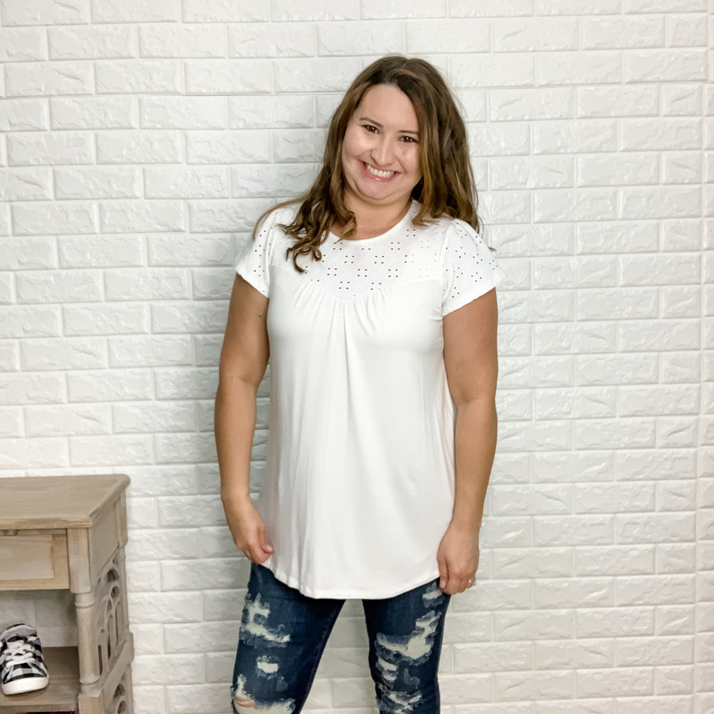 Eyelet Accent Top (Ivory)-Lola Monroe Boutique