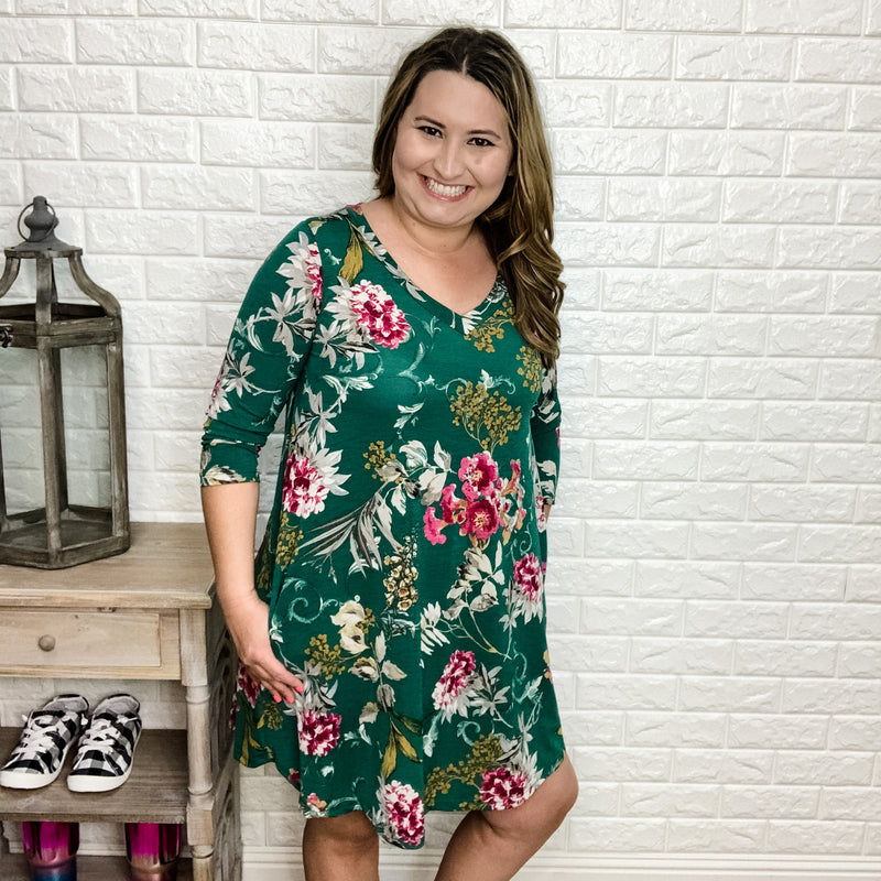 """Isabelle"" Floral Tunic/Dress 3/4 Sleeve with Pockets (Green)-Lola Monroe Boutique"