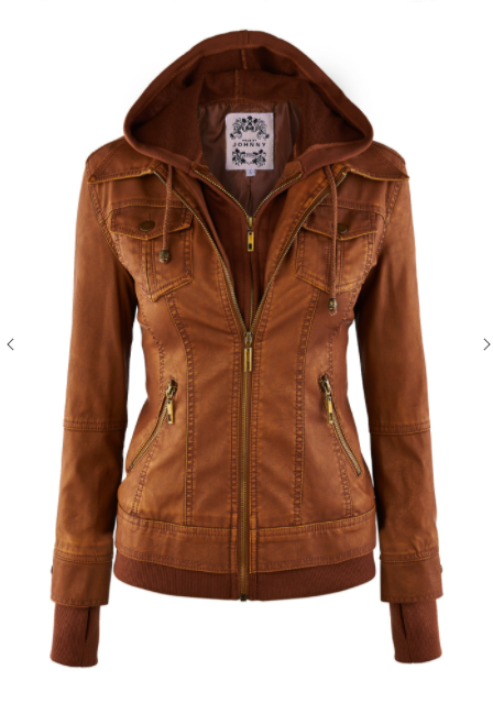 """Maverick"" Vegan Leather Jacket with Hood (Brown )-Lola Monroe Boutique"
