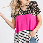 Color Block Keyhole Top-Lola Monroe Boutique