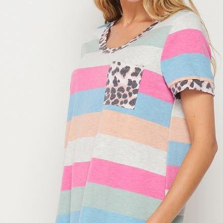 Honey Me Striped Tee with Animal Print Pocket-Lola Monroe Boutique