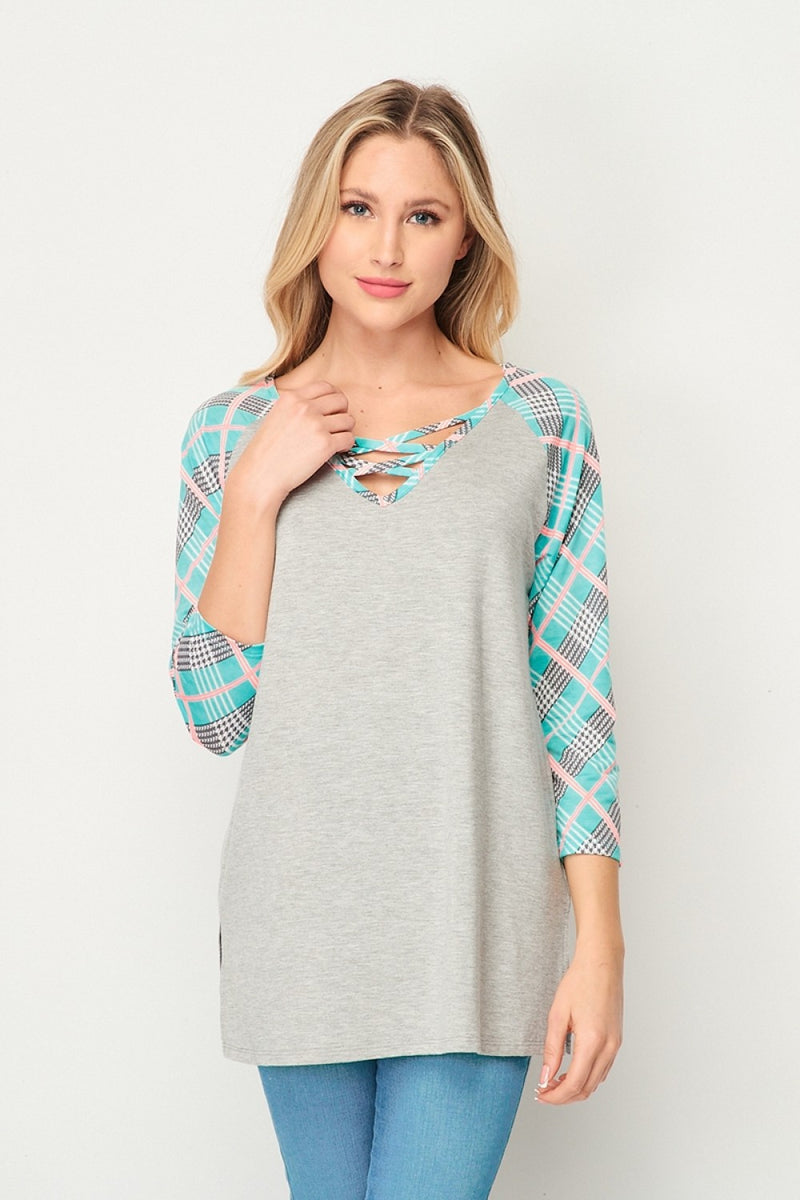 """Tiffany"" 3/4 Sleeve Criss Cross Plaid Accent Top-Lola Monroe Boutique"