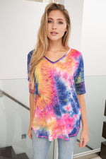 Melted Crayon Tie Dye V Neck Tee-Lola Monroe Boutique