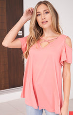 Cold Shoulder Criss Cross Top-Lola Monroe Boutique