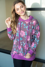 """Naomi"" Floral Body Hoodie with Waffle Texture Accents-Lola Monroe Boutique"