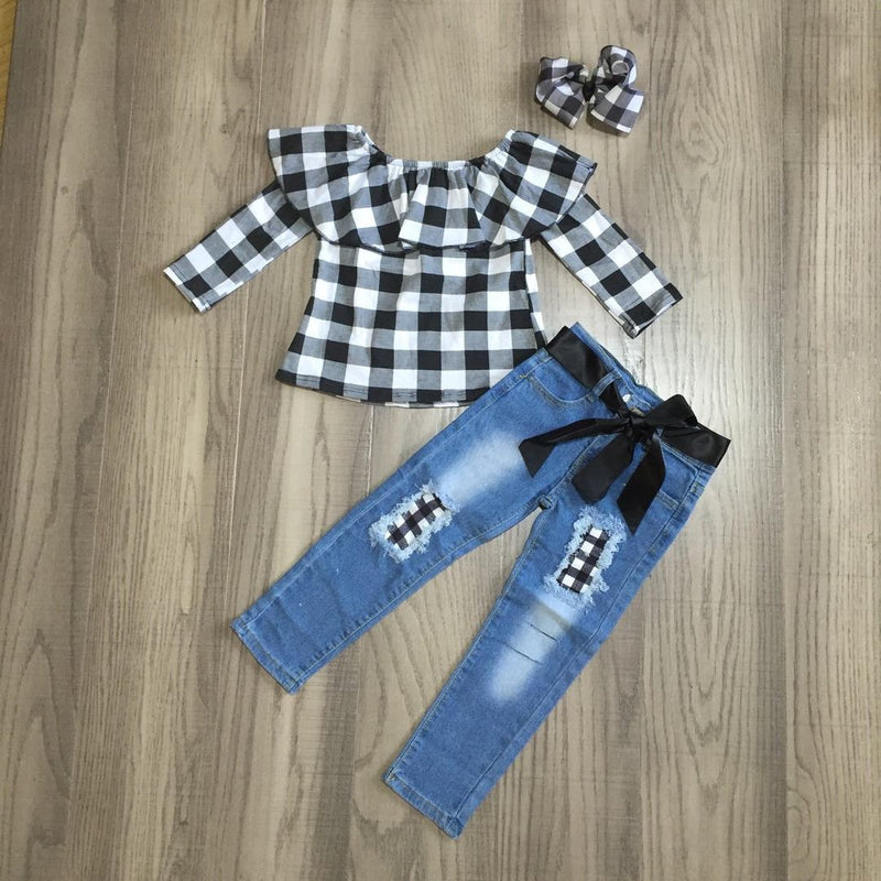 Pre-sale Black Plaid Kids Set-Lola Monroe Boutique