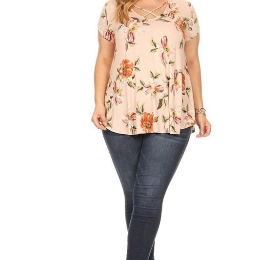 Criss-Cross Floral Top-Lola Monroe Boutique