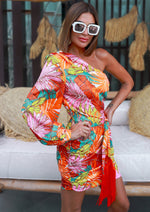 IN SEVILLE ONE SHOULDER TROPICAL DRESS ORANGE