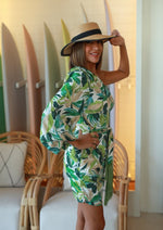 ON VACATION ONE SHOULDER TROPICAL DRESS GREEN
