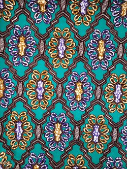Purple & Gold on Teal African Print Fabric