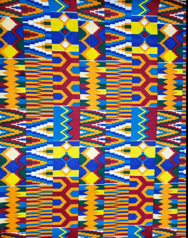 Blue Kente Print Fabric