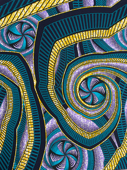 Purple and Blue Spirals African Fabric